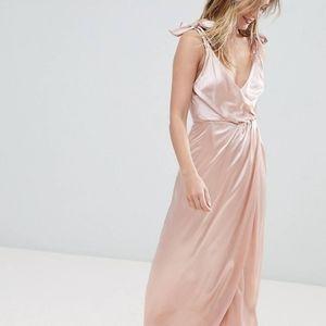 Monki Satin Tie Maxi Dress